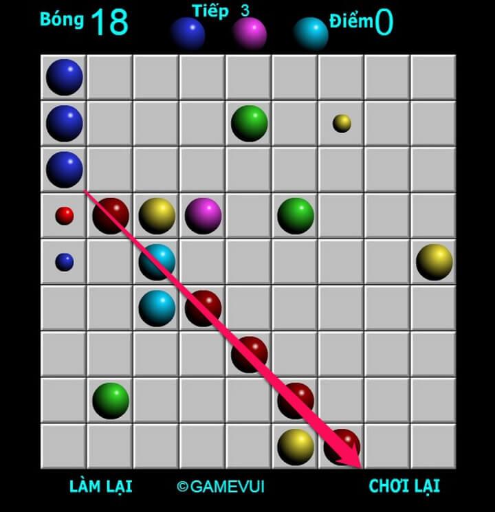 cứ 5 viên bi cùng màu trở lên thẳng hàng ngang, dọc, chéo bạn sẽ có 5