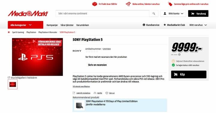 Đặt trước PS5 tại website MediaMarkt Thụy Điển