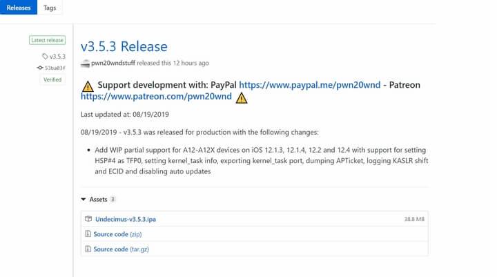 unc0ver v3.5 phiên bản mới nhất hiện nay