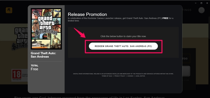 Nhấn tiếp Redeem Grand Theft Auto: San Andreas