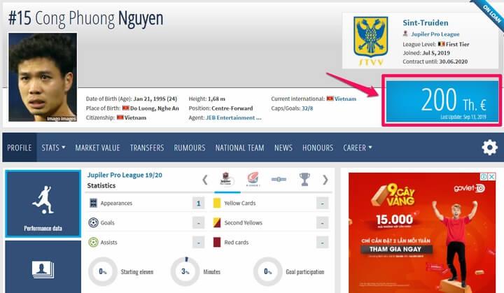 Transfermarkt đã định giá chuyển nhượng cầu thủ này là 200.000 euro (hơn 5,1 tỷ đồng)