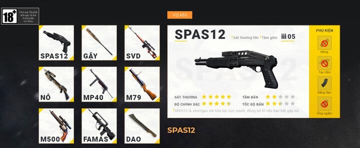 vũ khí trong game Free Fire