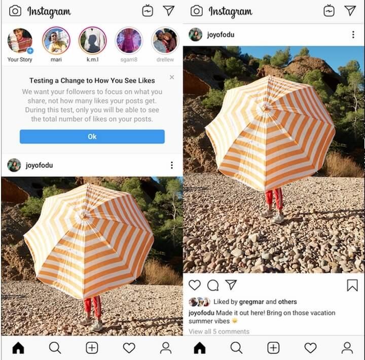 Mạng xã hội Instagram đã thử nghiệm tính năng ẩn tổng số like với mỗi post tại 7 quốc gia - Ảnh: TECHCRUNCH