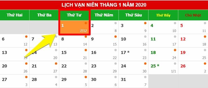 tết dương lịch 2020