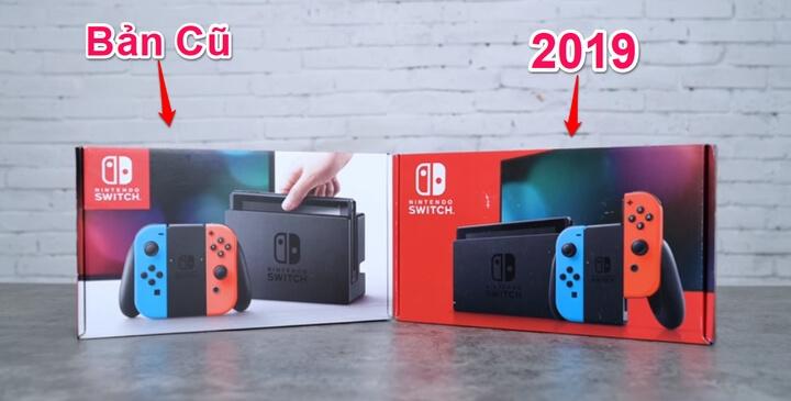 Vỏ hộp Nintendo Switch cũ và 2019