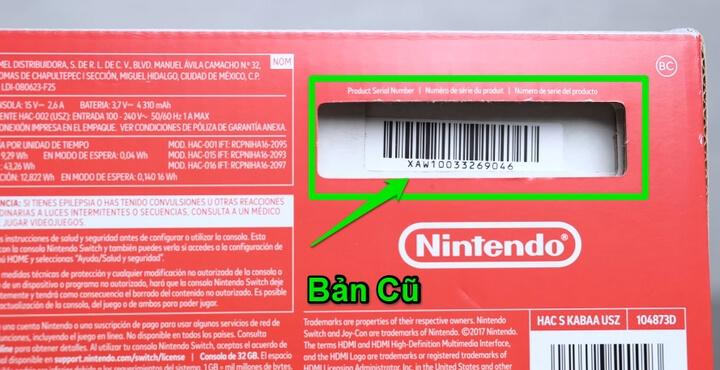 Phiên bản Nintendo Switch cũ sẽ là : XAW