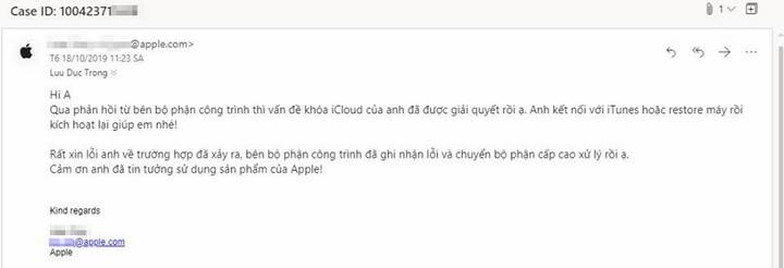Nạn nhân bị khóa bởi iCloud Relocker được Apple hỗ trợ mở khóa miễn phí. (Ảnh từ Lưu Đức Trọng từ Cộng đồng iPhone Lock)