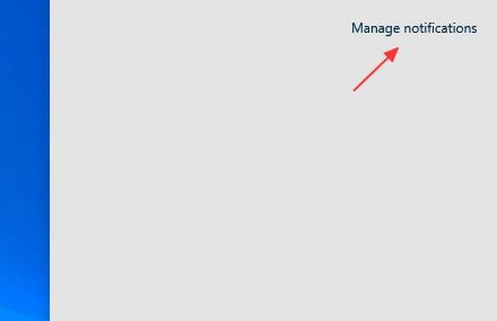 Manage notifications hiển thị luôn ngay tại cửa sổ Action Center