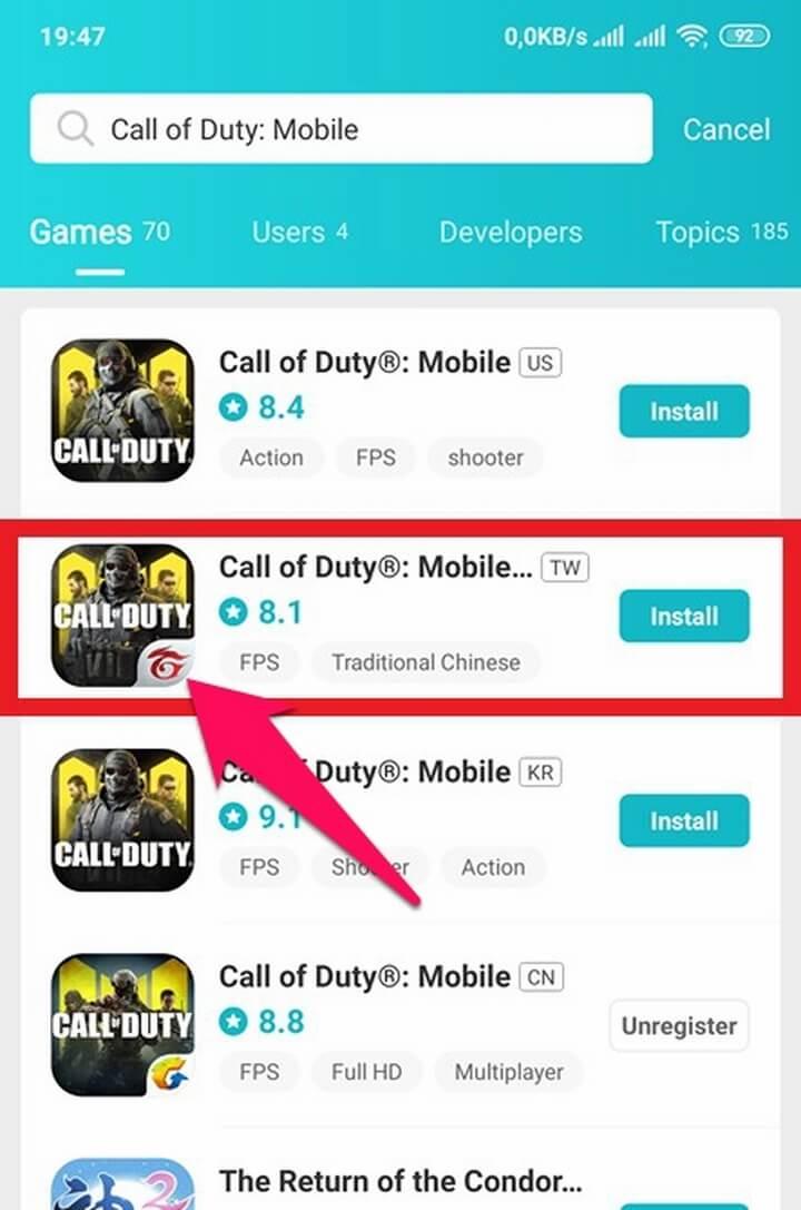 Call of Duty Mobile - Garena - phiên bản dành cho thị trường Đài Loan (Có chữ Garena nhé)