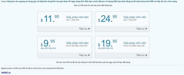 Giá thương mại của phần mềm idm