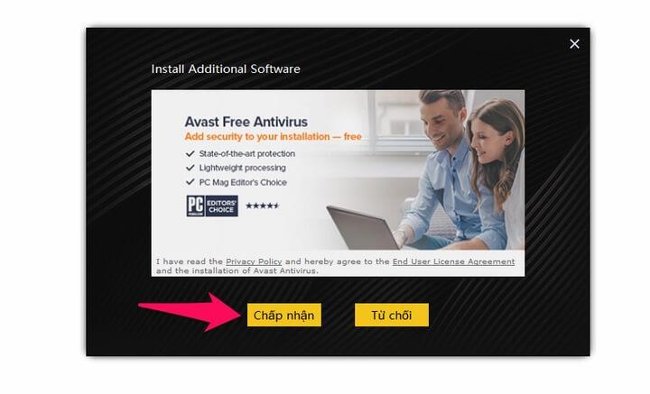 """Tiếp tục Click """"Chấp Nhận"""" Hoặc """"Từ chối"""" cài đặt thêm phần mềm thứ 3"""
