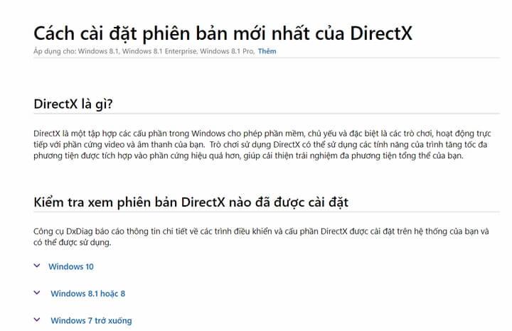 Cập nhật DirectX mới nhất