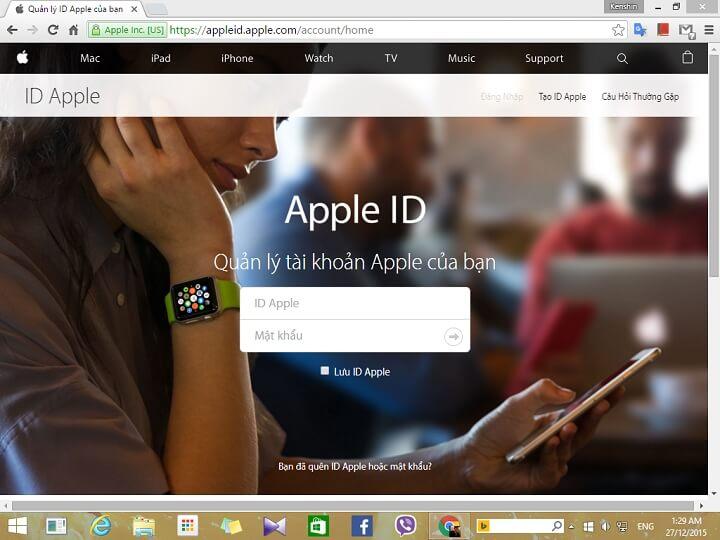 đăng nhập vào Apple ID