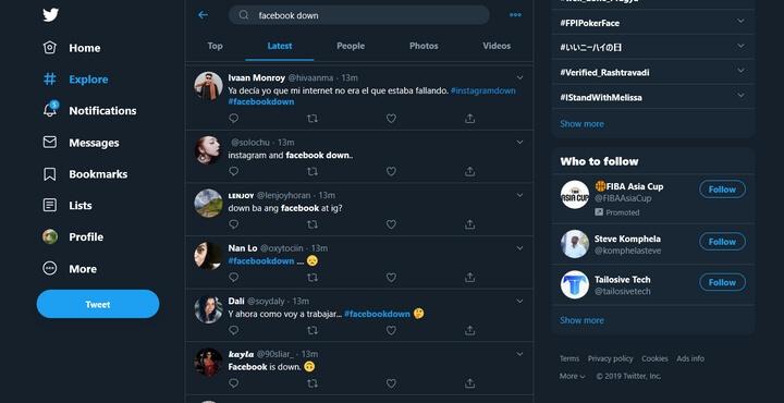 nhiều người ngay lập tức nhảy vào MXH twitter để than vãn cũng như thông báo tình trạng vừa xảy ra đối với Facebook.