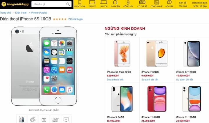 thegioididong.com không còn bán 5S