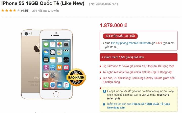giá iPhone 5S tại một cửa hàng tp.hcm