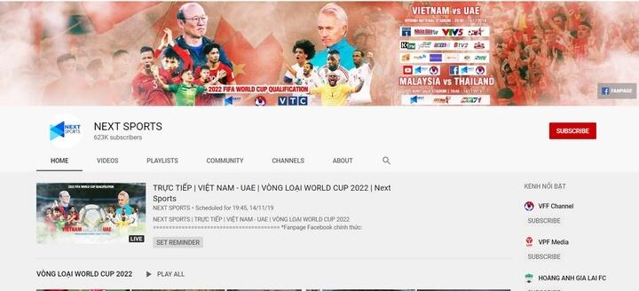 kênh Youtube NEXT SPORTS