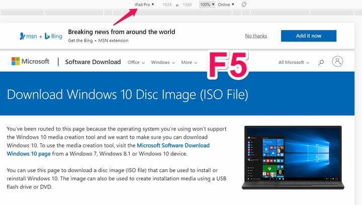 chọn ipad pro sau đó nhấn lại F5 để load lại website