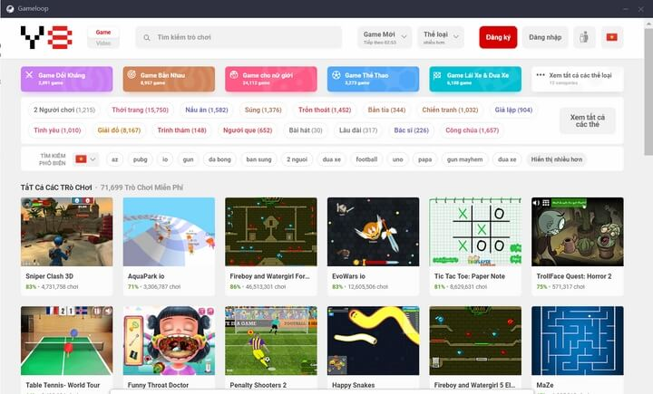 Giao diện Y8 - Games trên giả android GameLoop