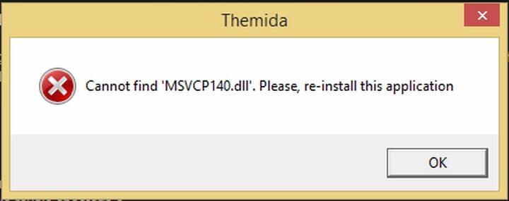 Thông báo lỗi msvcp140.dll